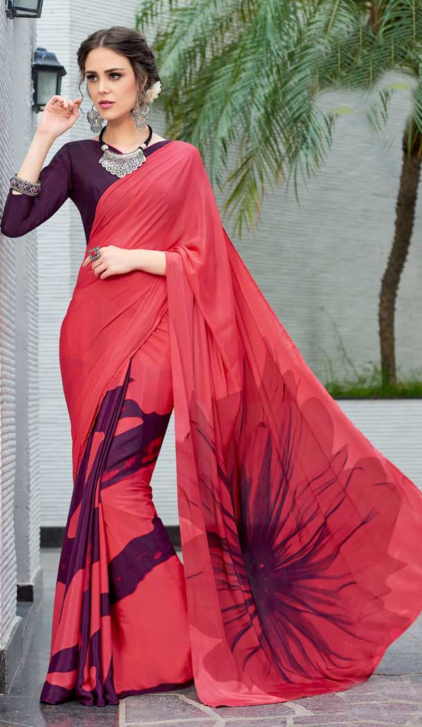 Tomato Red Color Crepe Printed Casual Party Wear Saree -780595828