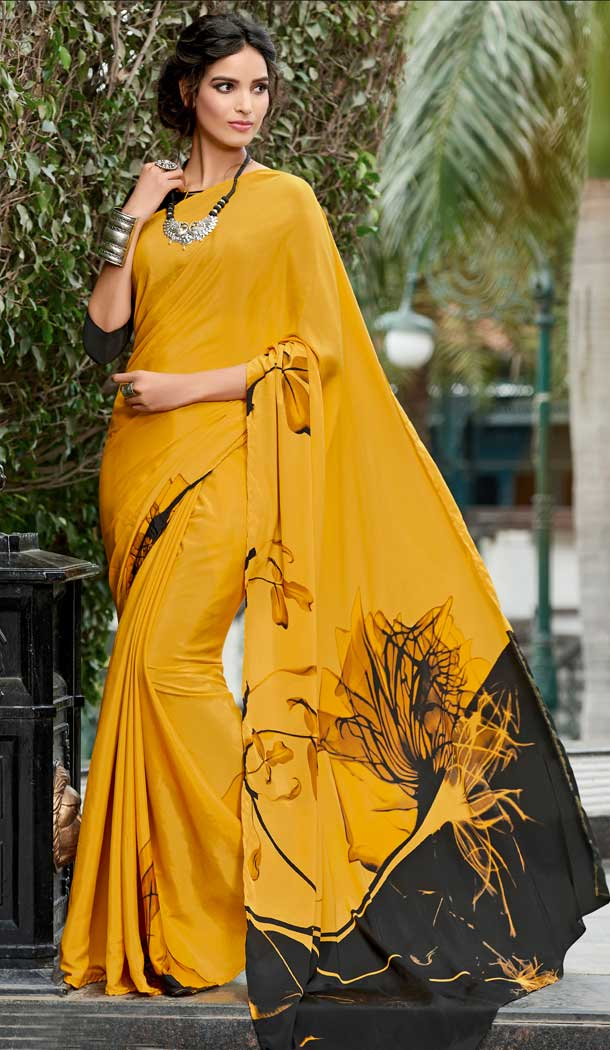 Vivacious Musterd Color Crepe Printed Casual Party Wear Saree -780595829