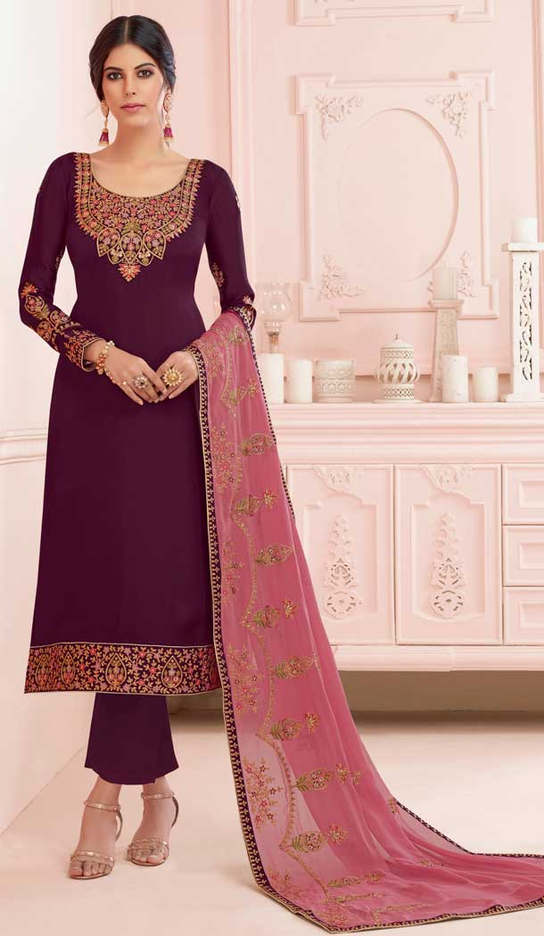 Gleaming Violet Color Premium Satin Georgette Party Wear Salwar Kameez -782296012