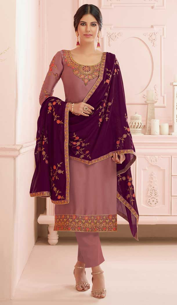 Light Brown Color Premium Satin Georgette Party Wear Salwar Kameez -782296014