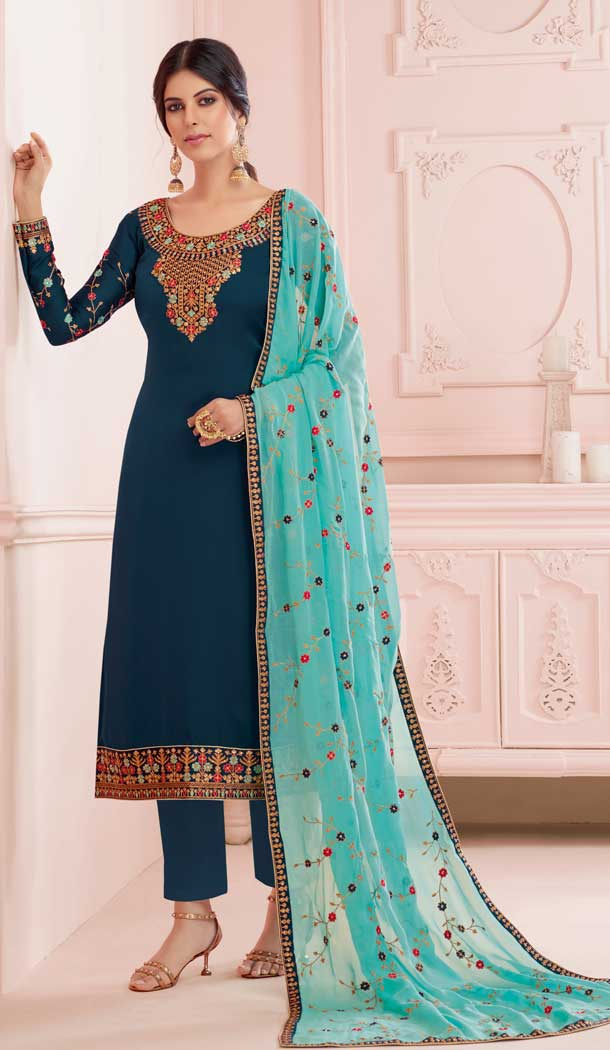 Fancy Teal Blue Color Premium Satin Georgette Party Wear Salwar Kameez -782296015