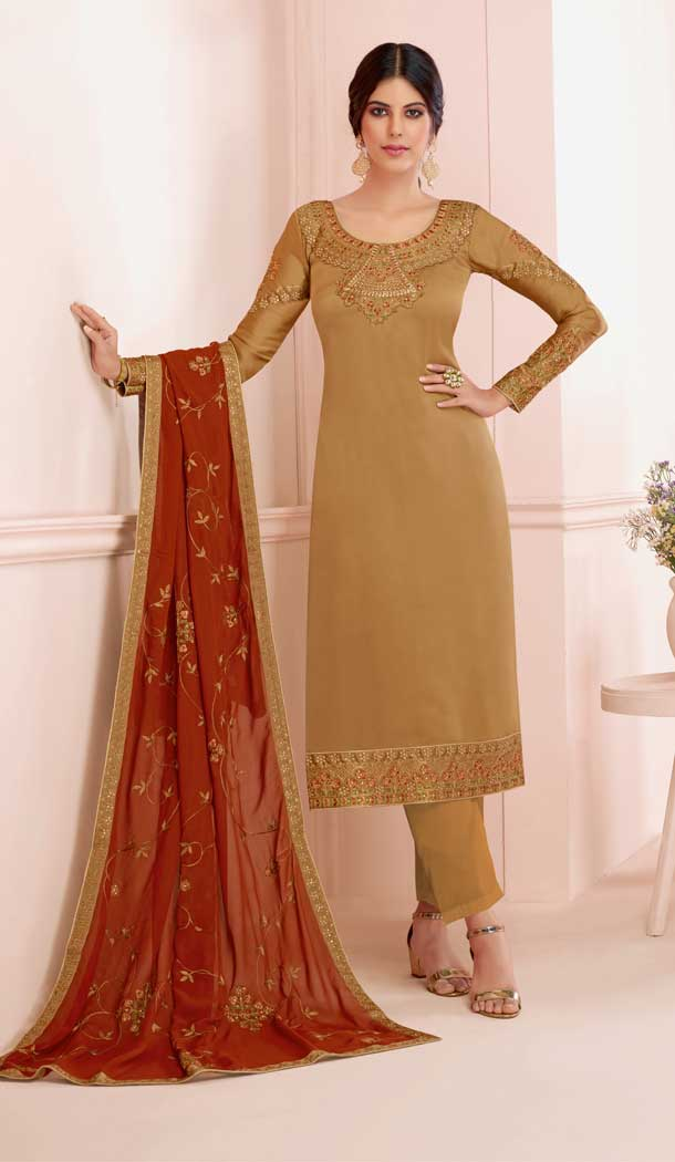 Exotic Golden Color Premium Satin Georgette Party Wear Salwar Kameez -782296016