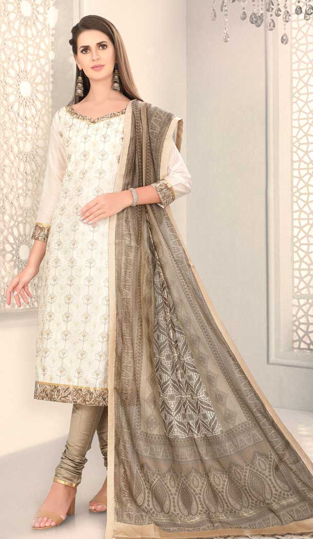 Aesthetic Off White Color Chanderi Silk Designer Party Wear Salwar Suit -780895865