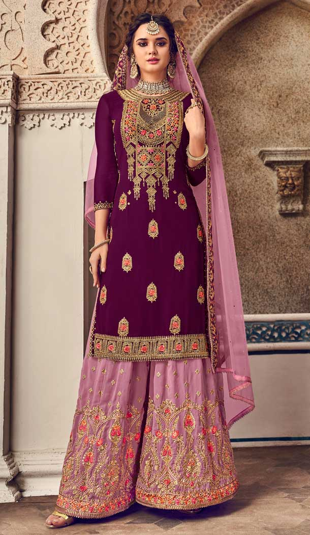 Purple Color Baluming Georgette Heavy Designer Pakistani Style Plazzo Suit -782596035