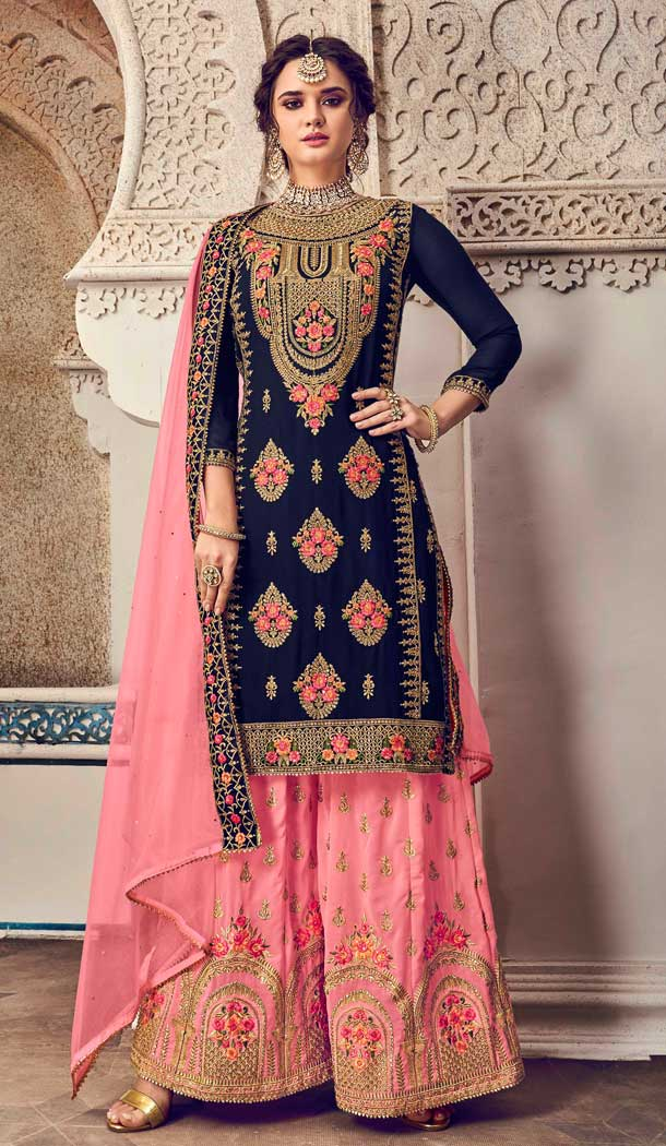 Dark Blue Color Baluming Georgette Heavy Designer Pakistani Style Plazzo Suit -782596036