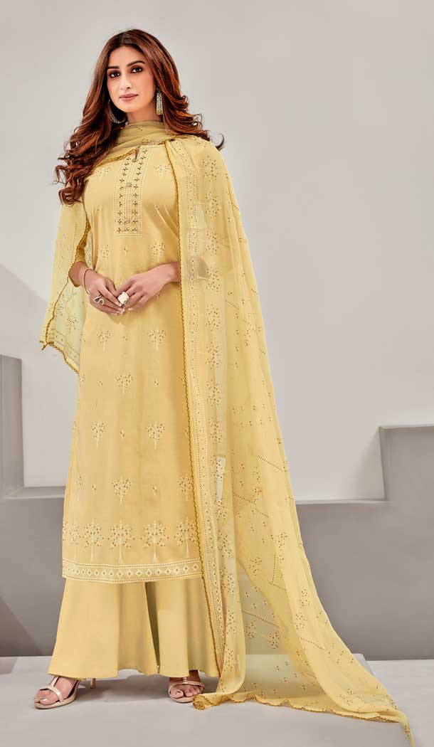 Light Yellow Color Pure Lawn Cotton Casual Wear Palazzo Suit -782796043