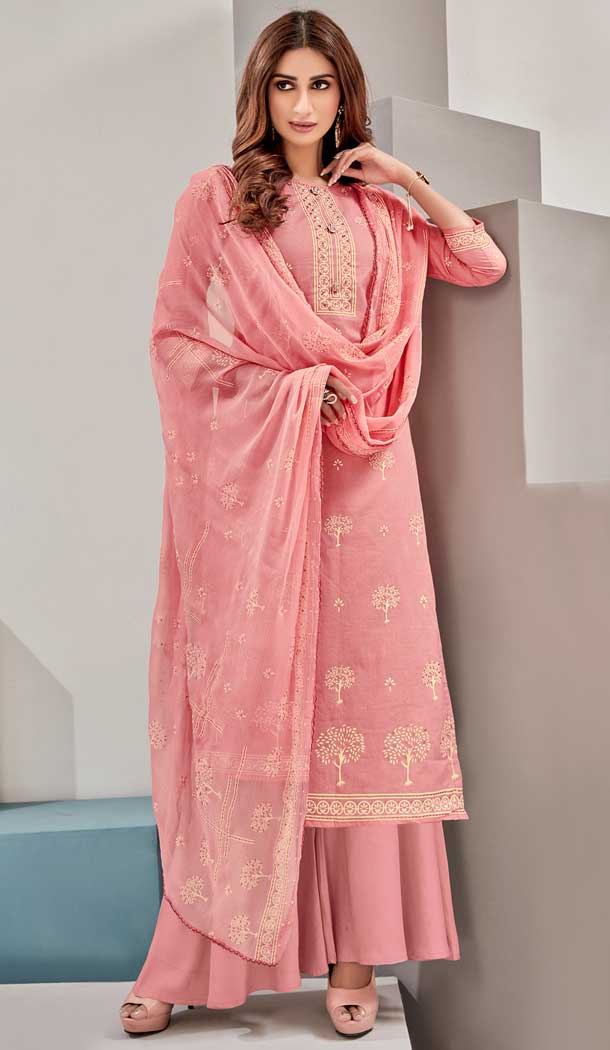 Exotic Peach Color Pure Lawn Cotton Casual Wear Palazzo Suit -782796046