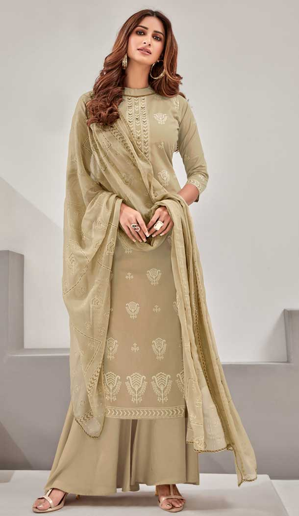 Adorable Beige Color Pure Lawn Cotton Casual Wear Palazzo Suit -782796050