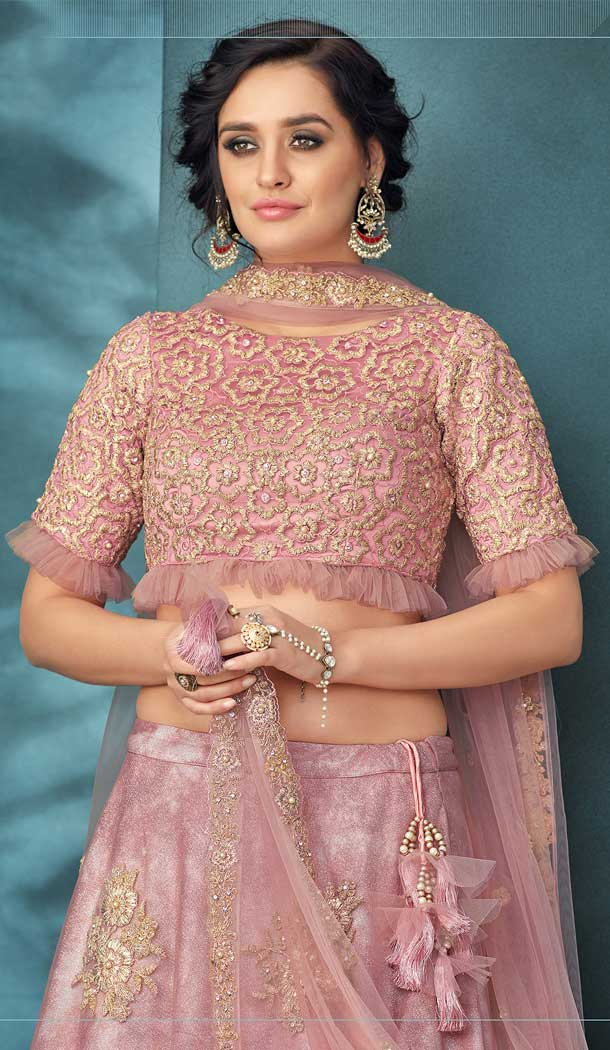Pink Color Value Addition Fabric Heavy Designer Party Wear Bridal Lehenga Choli -784396174