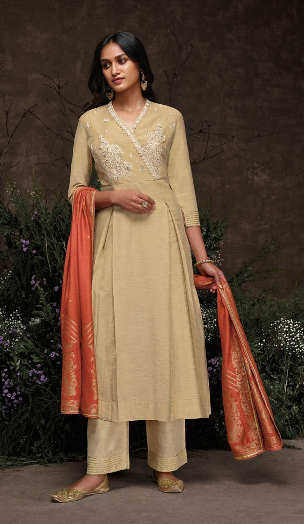 Beige Color Aaria Silk Party Wear Readymade Salwar Suit -786896360