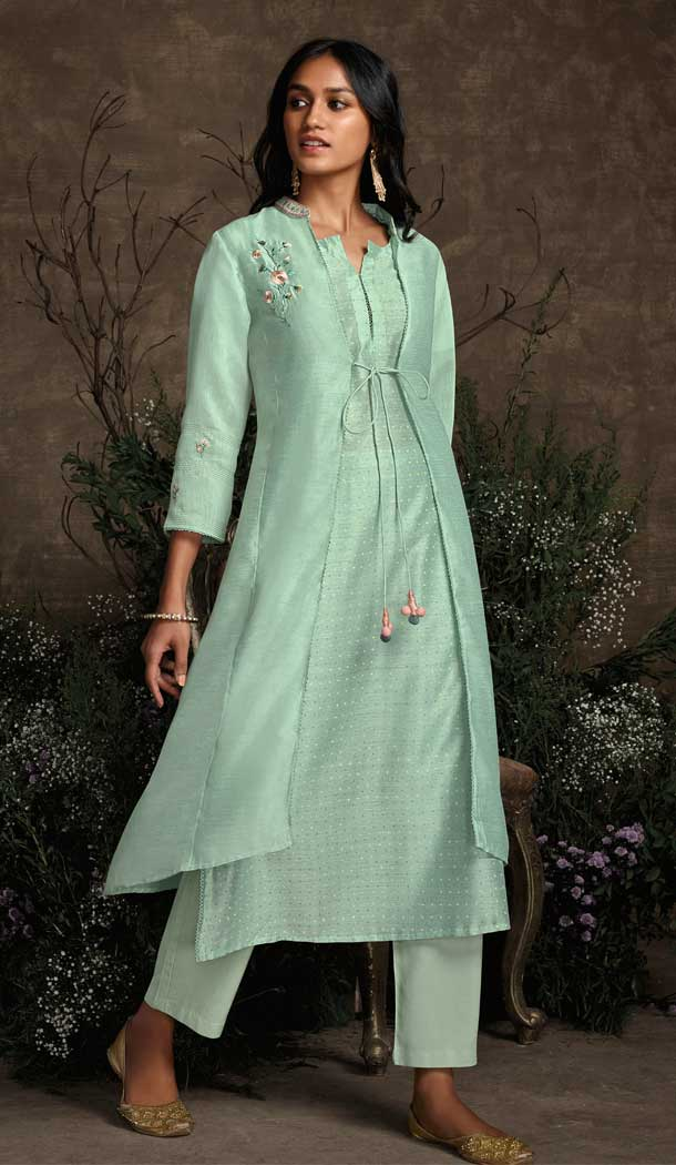 Aqua Green Color Berry Silk Party Wear Designer Readymade Salwar Suit -787196378