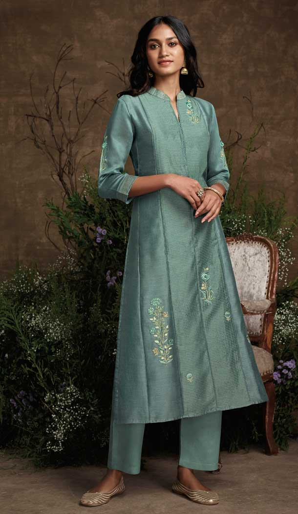 Sea Green Color Berry Silk Party Wear Designer Readymade Salwar Suit -787196380