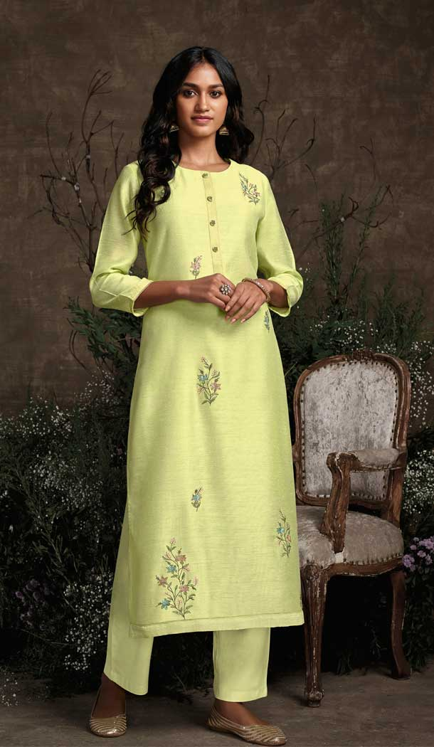 Lemon Color Berry Silk Party Wear Designer Readymade Salwar Suit -787196383
