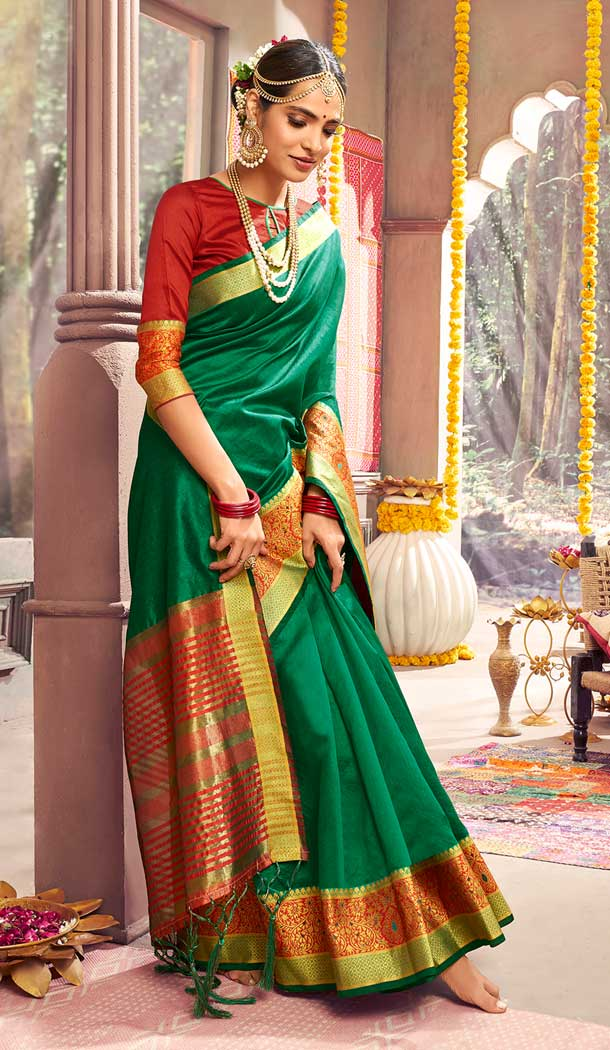 Green Color Crystal Gala Silk Casual Party Wear Saree Blouse -788396495