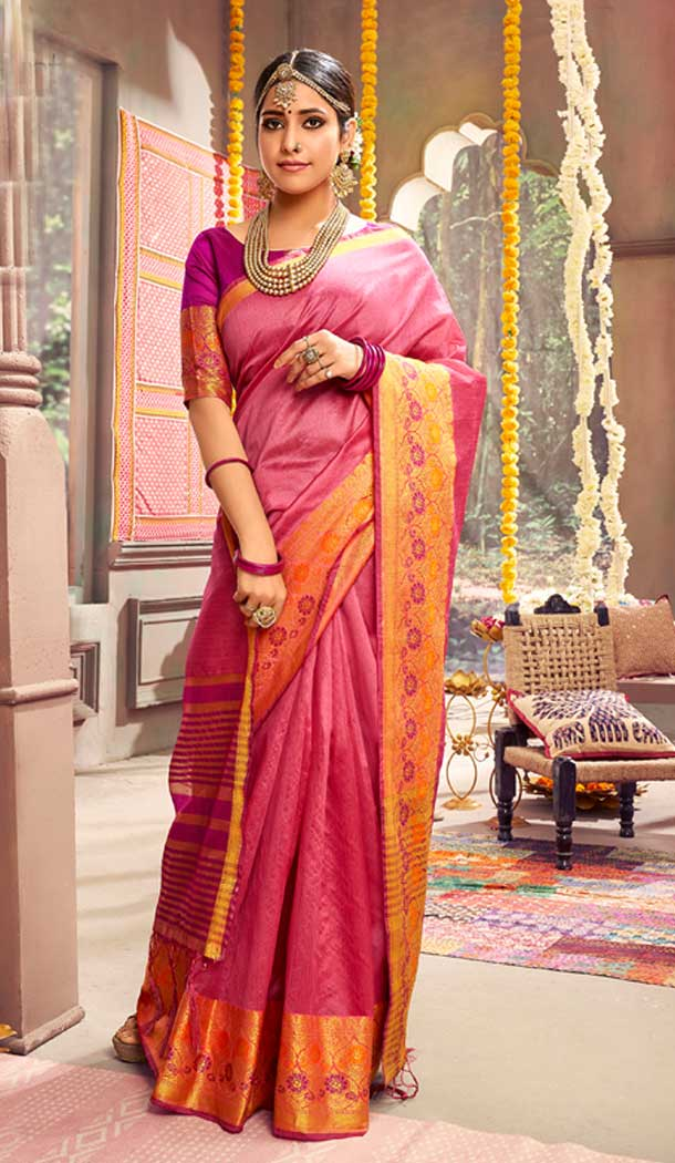 Pink Color Crystal Gala Silk Casual Party Wear Saree Blouse -788396496