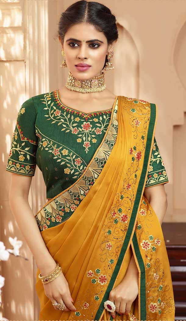 Musterd Color Georgette Heavy Designer Wear Traditional Saree -789496632