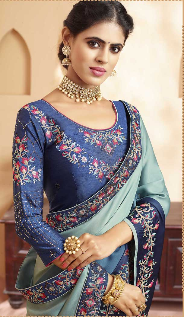 Blue Shades Color Georgette Heavy Designer Wear Traditional Saree -789496633
