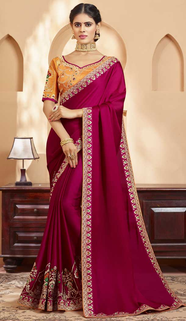 Rose Pink Color Georgette Heavy Designer Wear Traditional Saree -789496635