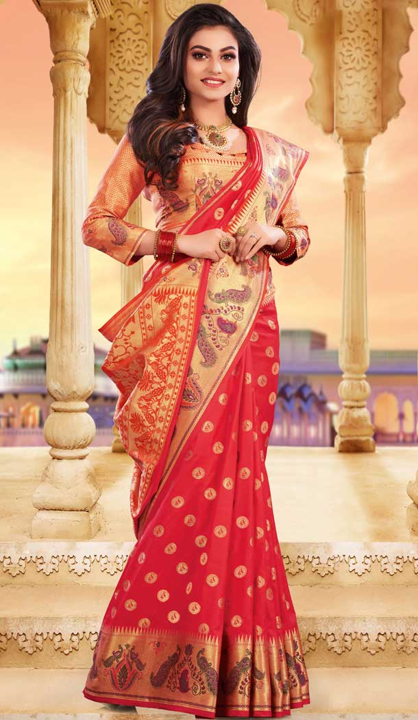 Glamorous Red Color Silk Heavy Designer Party Wear Classic Saree -790196697
