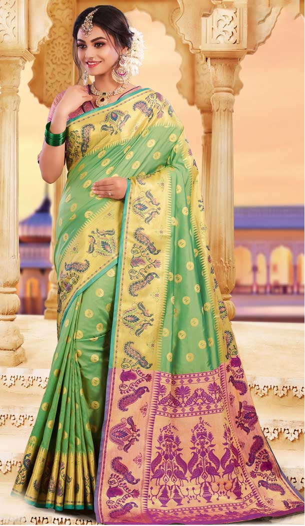 Unique Green Color Silk Heavy Designer Party Wear Classic Saree -790196698