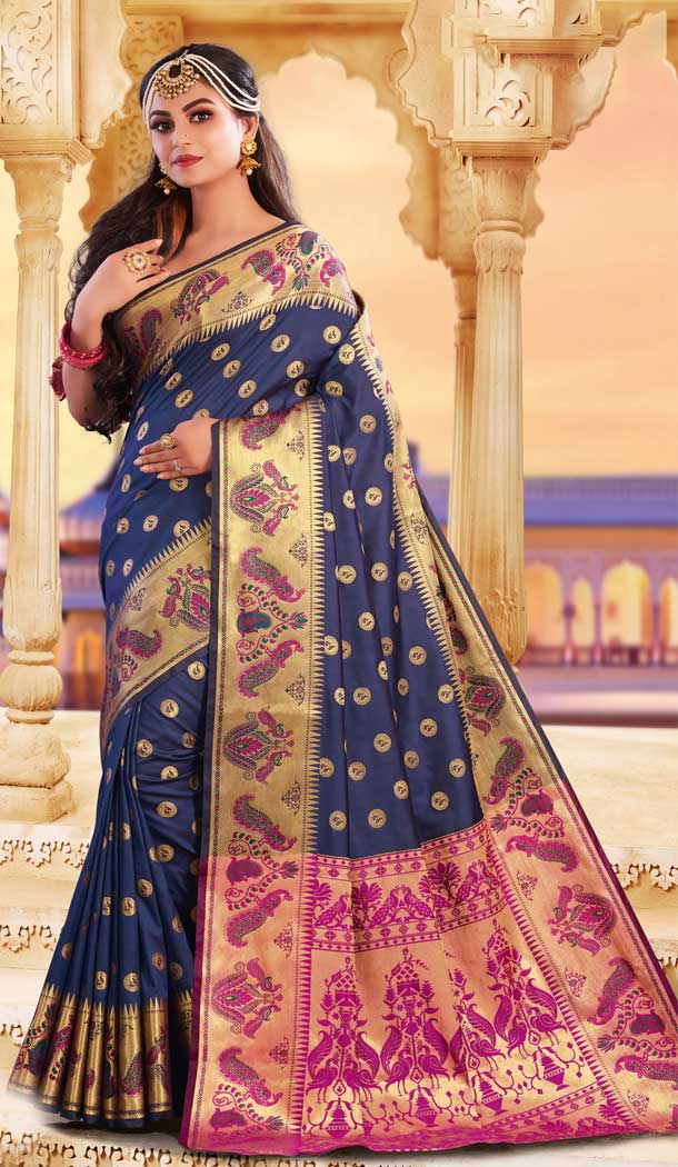 Ethnic Blue Color Silk Heavy Designer Party Wear Classic Saree -790196700
