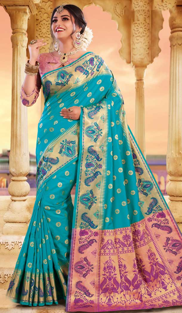 Sky Blue Color Silk Heavy Designer Party Wear Classic Saree -790196701