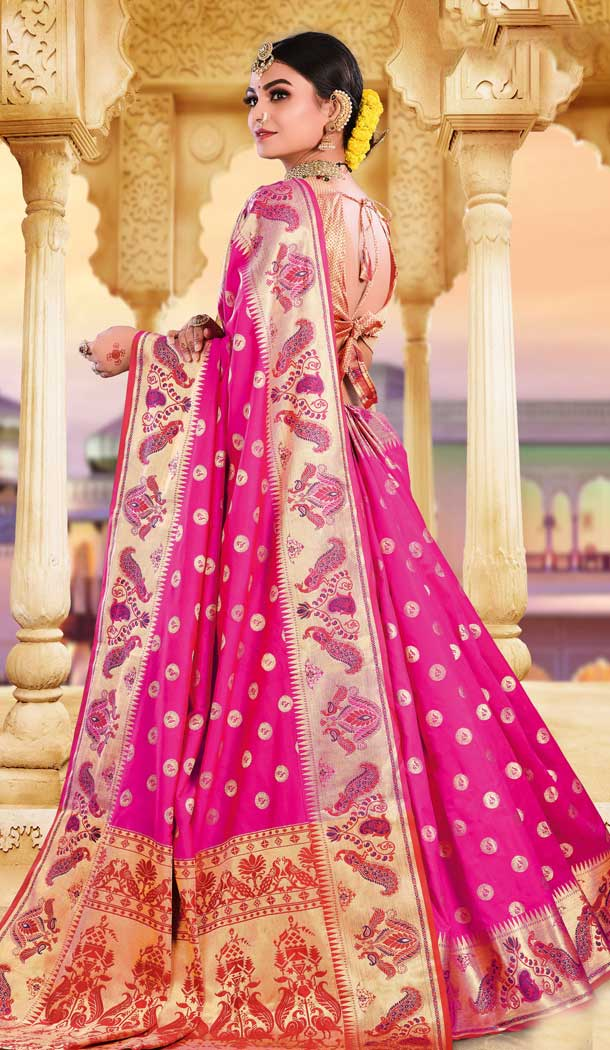 Rani Pink Color Silk Heavy Designer Party Wear Classic Saree -790196702