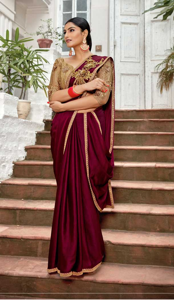 Maroon Color Rangoli Georgette Based Party Wear Saree Blouse -792396919