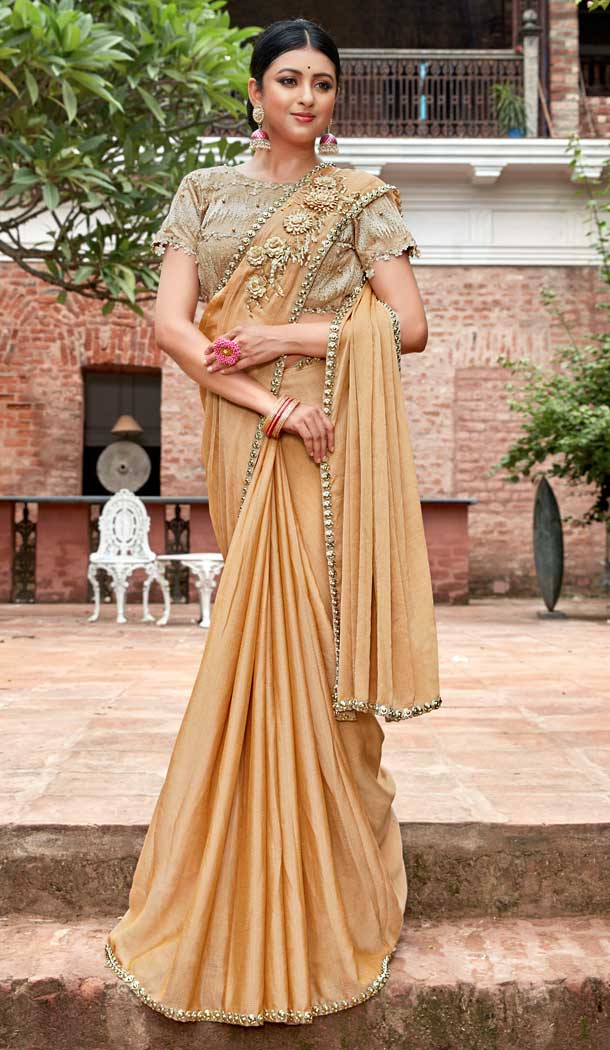 Cream Color Rangoli Georgette Based Party Wear Saree Blouse -792396920
