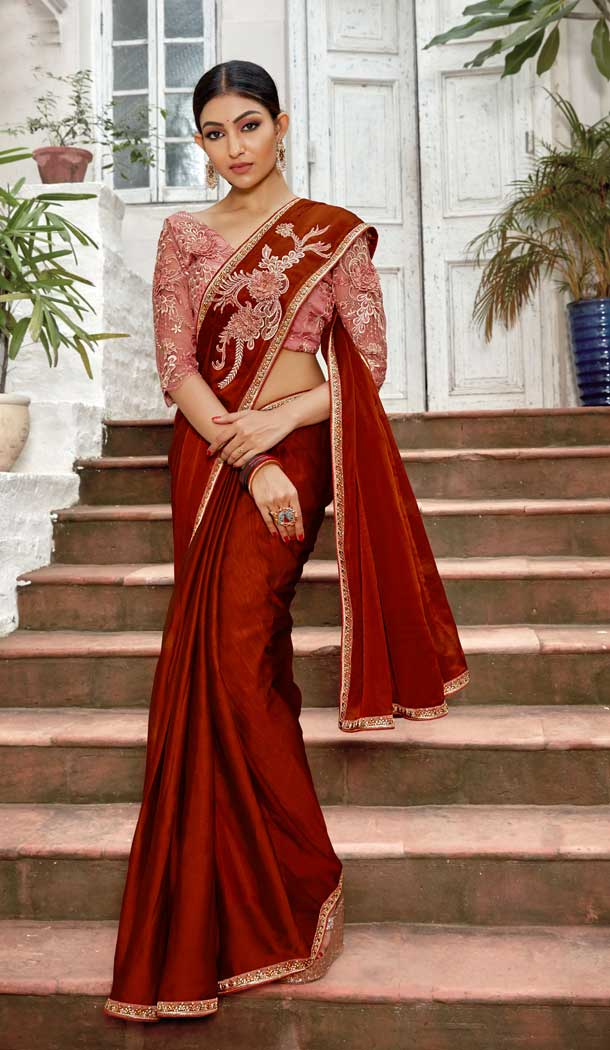 Red Color Rangoli Georgette Based Party Wear Saree Blouse -792396921