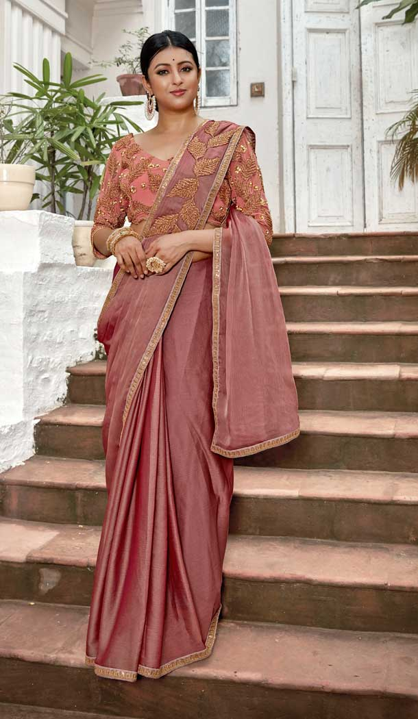 Light Maroon Color Rangoli Georgette Based Party Wear Saree Blouse -792396923