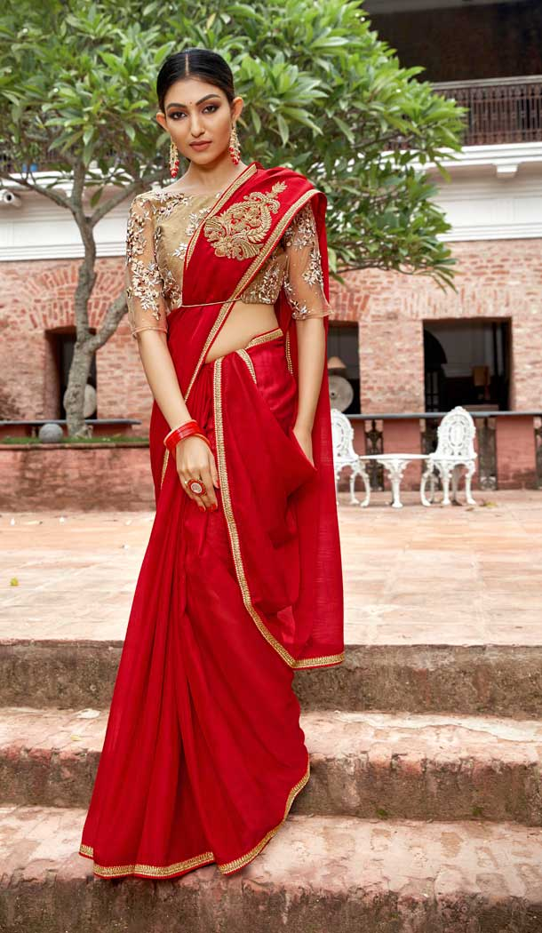Red Color Rangoli Georgette Based Party Wear Saree Blouse -792396925