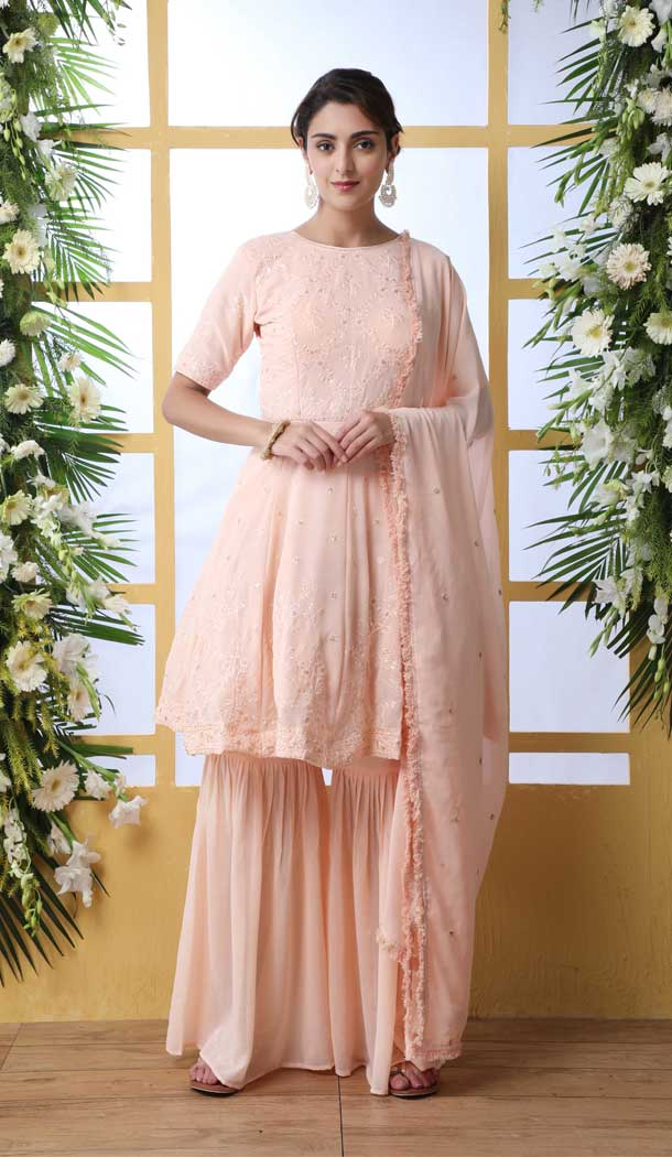Stylish Peach Color Georgette Designer Party Wear Salwar Suit -792496926