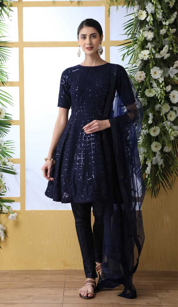 Navy Blue Color Georgette Designer Party Wear Salwar Suit -792496927