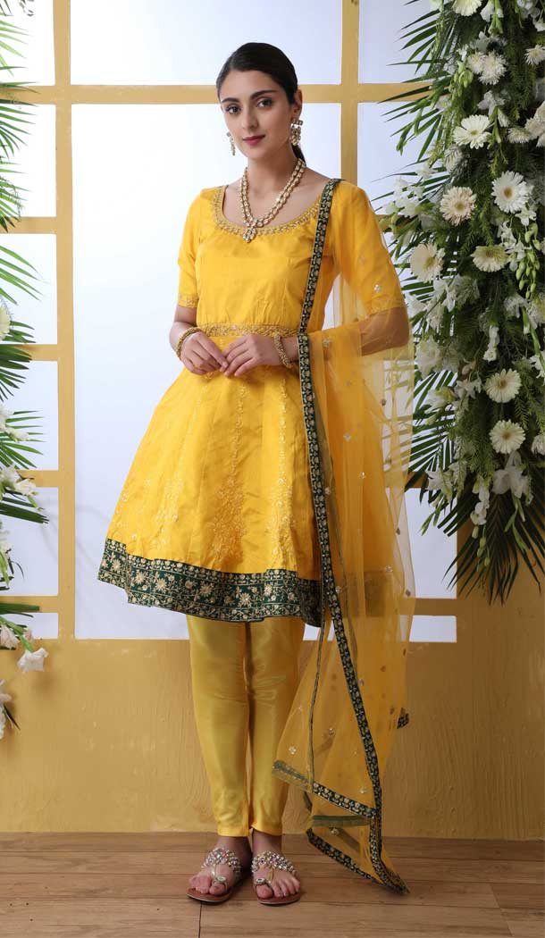 Mustered Yellow Color Art Silk Designer Party Wear Salwar Suit -792496928