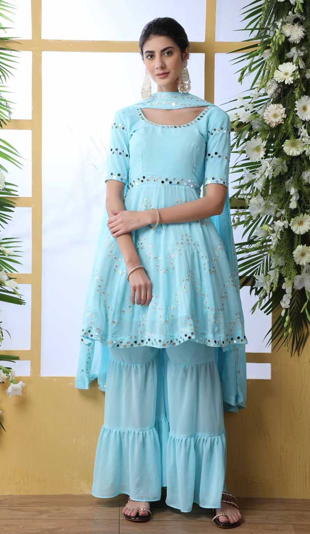 Sky Blue Color Georgette Designer Party Wear Salwar Suit -792496929