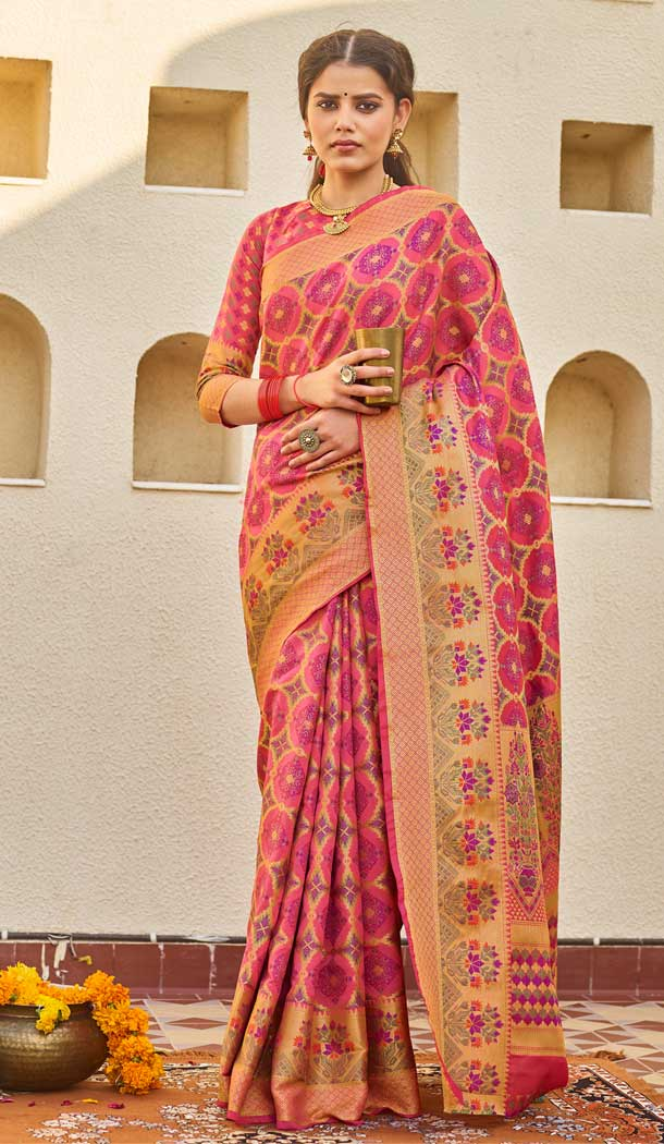 Pink Color Weaving Silk Classic Casual Wear Saree Blouse -793096974