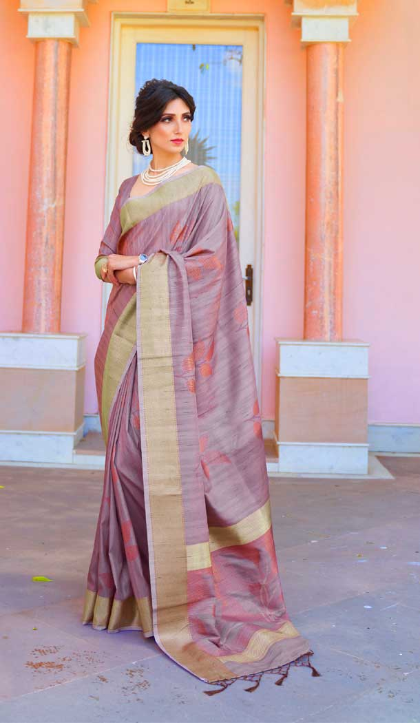 Light Purple Color Soft Hand loom Weaving Silk Casual Wear Saree -793396989