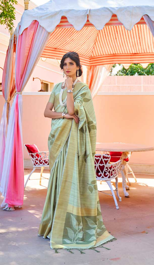 Sea Green Color Soft Hand loom Weaving Silk Casual Wear Saree -793396991