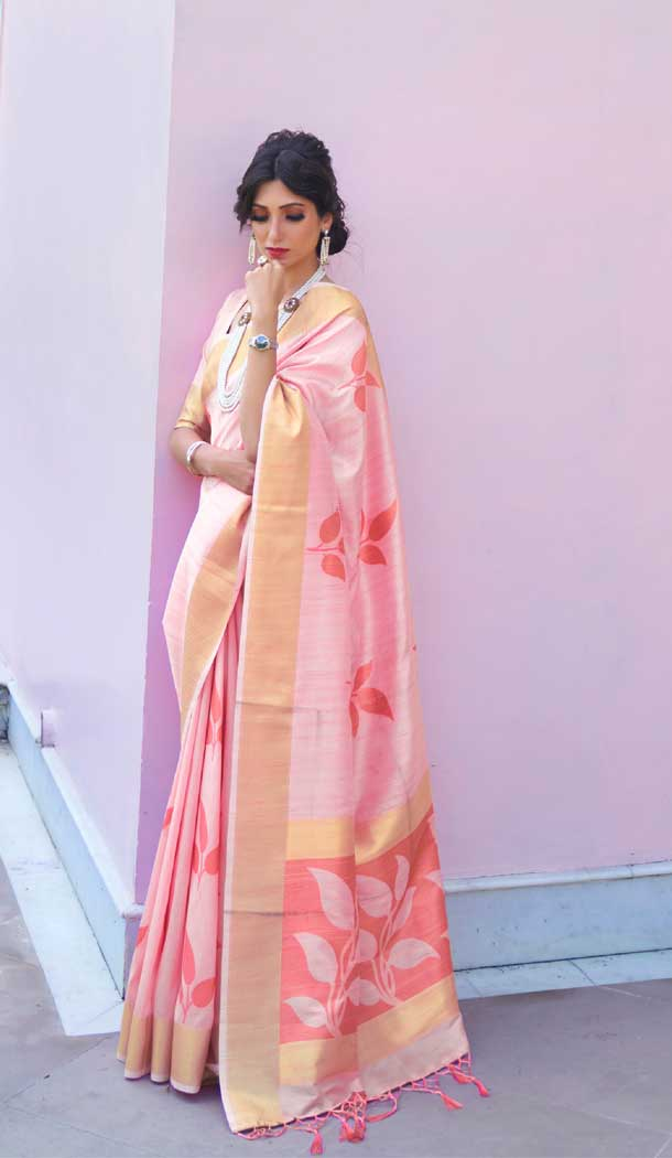 Light Pink Color Soft Hand loom Weaving Silk Casual Wear Saree -793396994