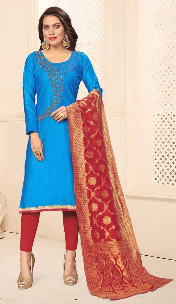 Sky Blue Color Jaam Cotton Casual Office Wear Salwar Kameez -793597003