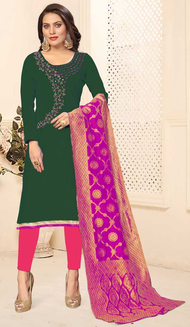 Green Color Jaam Cotton Casual Office Wear Salwar Kameez -793597004