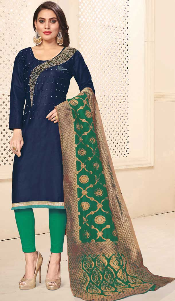 Lovely Blue Color Jaam Cotton Casual Office Wear Salwar Kameez -793597008
