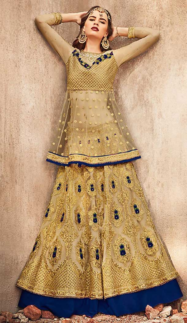 Golden With Navy Blue Color Net Designer Pakistani Style Lehenga Suit -fz6655363