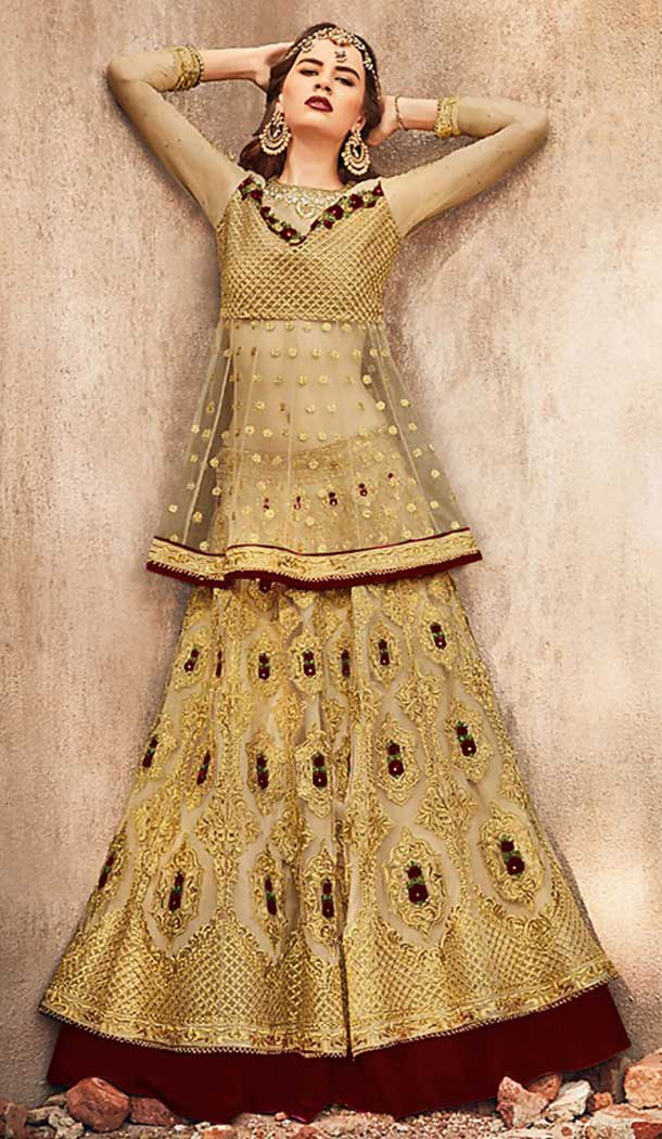 Golden With Brown Color Net Designer Pakistani Style Lehenga Suit -fz6655364