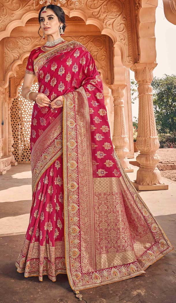 Adorable Rani Pink Color Art Silk Designer Traditional Wedding Wear Saree -794397067