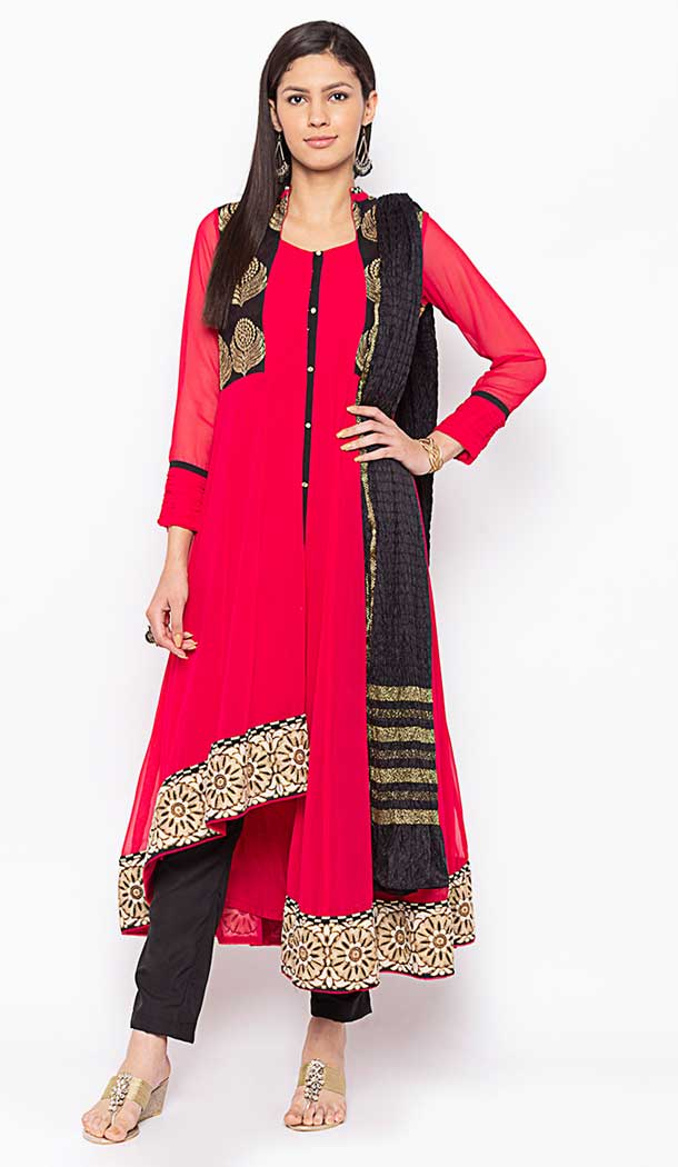 Coral Color Georgette Designer Readymade Plus Size Salwar Kameez -800197714