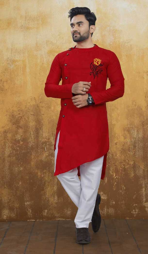 Red Color Pure Ruby Cotton Indo Western Readymade Man Kurta Pajama -797597388