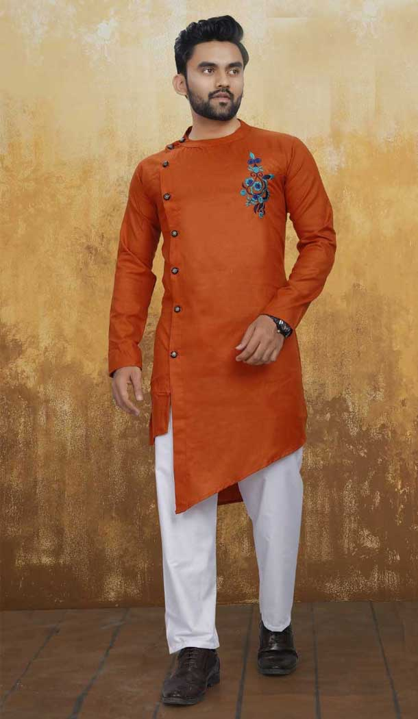 Gerua Color Pure Ruby Cotton Indo Western Readymade Man Kurta Pajama -797597389