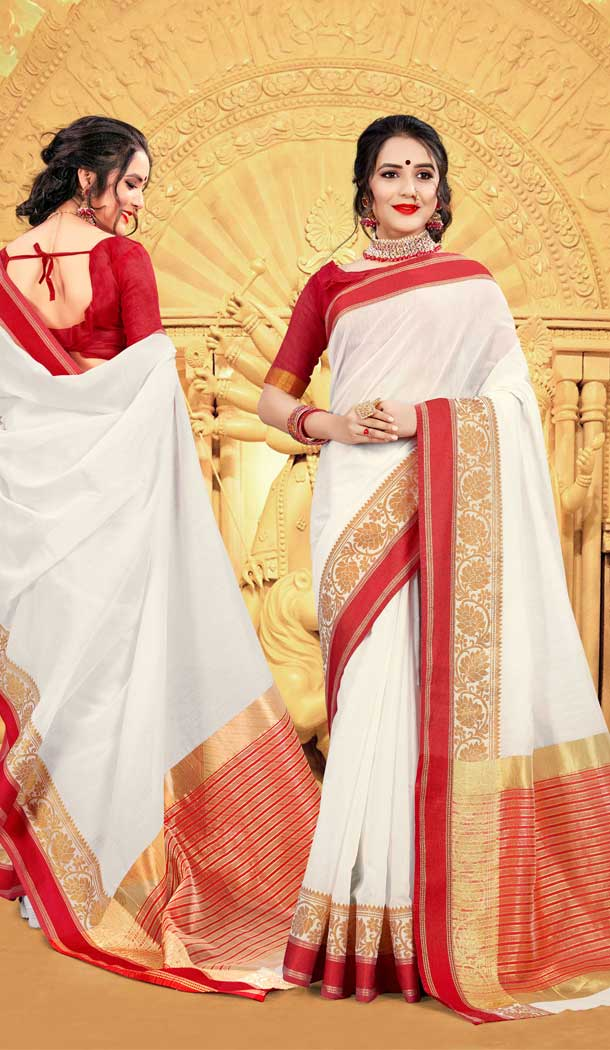 latest diwali saree white and red durga puja collection -77727217
